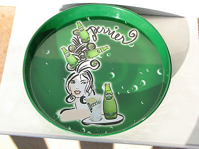 Perrier served tray natural mineral water bottle metal tin green used rare