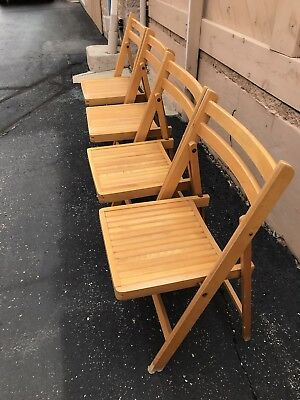 Four Vintage Slatted Wooden Folding Chairs Frames Very light Color from Romania