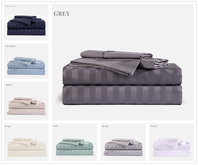 1000TC Egyptian Cotton Double,Queen or King Size Bed Sheet Set Stripe.3/4 Pieces