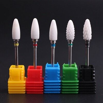 "3/32"" Ceramic Nail Art Grinding Drill Bits Bullet Bit Electric Manicure Mill Tip"