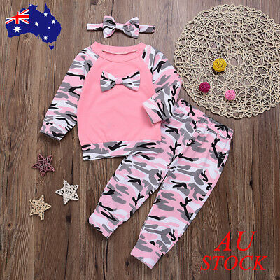 Baby Girls Camouflage Camo Outfits Set Newborn Toddler Clothes Romper Top Pant