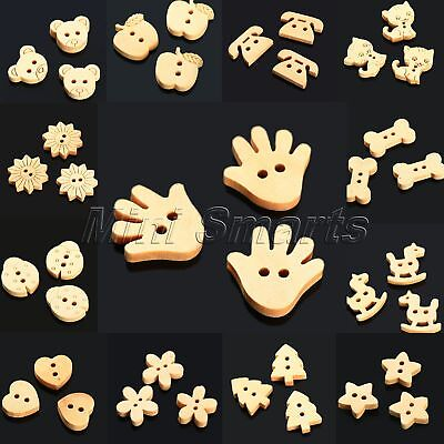 100pcs Cartoon Natural Wood Buttons Scrapbooking Sewing DIY Craft 13 Lovely Type