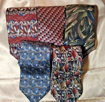 Lot of 5 Barrington 100% Silk Neck Ties Various Designs and Colors