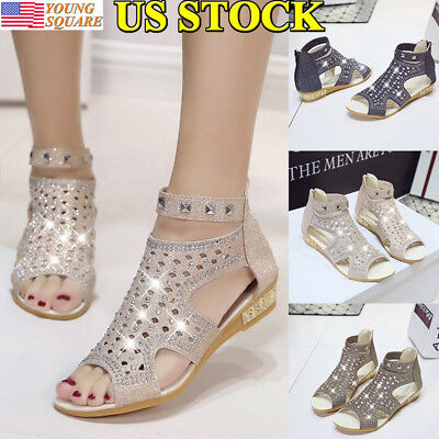 8e7054670b1 New Womens Zip Gladiator Sandals Roman Rhinestone Flats Open Toe Slippers  Sizes
