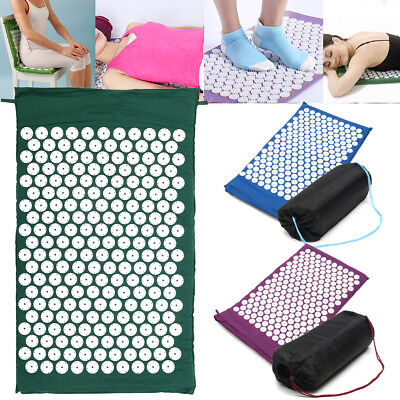 Massage Acupressure Yoga Mat Sit Lying Mats Cut Pain Stress Soreness w/ Bag