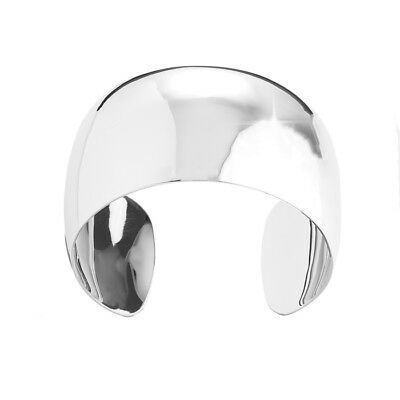 Rhodium Plated Plain Cuff Domed Bangle Silver 40mm Pack of 1 (K37)