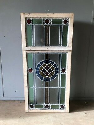 Late Victorian Antique Stained Glass Window Panel 113cm x 53cm in a box frame GC