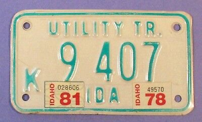 1981 Idaho Utility Trailer License Plate K 9 407                          Ul0800