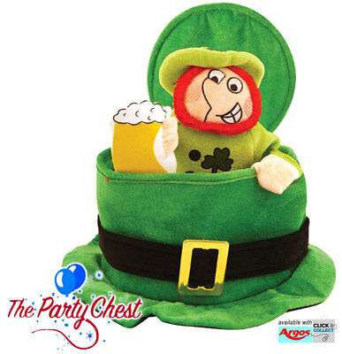 ST PATRICKS DAY TOP HAT WITH LEPRECHAUN Irish Party Fancy Dress Accessory Hat