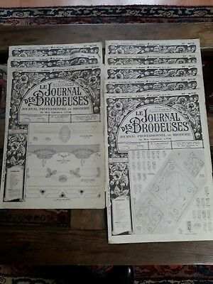 8 ANCIENS JOURNAUX LE JOURNAL DES BRODEUSES 1934 Old EMBROIDERY PATTERNS REVIEWS
