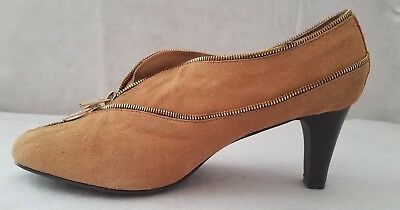 292582f05ed AJ VALENCI Womens Shoes Size 11W Tan Suede Leather Slip On Bootie Heels  Pumps