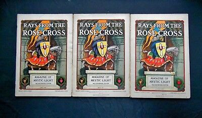 3 ISSUES RAYS From The Rose Cross, Magazine of Mystic Light 1927 V  19,# 4,  5,8