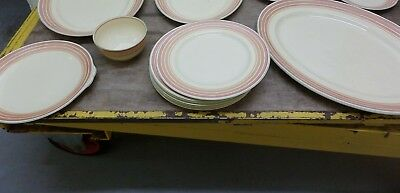 GRAY'S POTTERY STOKE ON TRENT FOR HEAL & SON - 11 pieces - SALMON PINK & GREEN