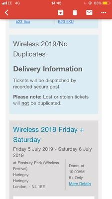 Wireless Festival 2019 Friday Day Ticket *FESTIVAL SOLD OUT IN MINUTES***