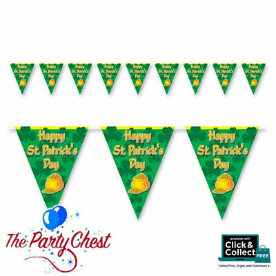 12FT HAPPY ST PATRICKS DAY PENNANT BUNTING Irish Celebration Banner Decoration