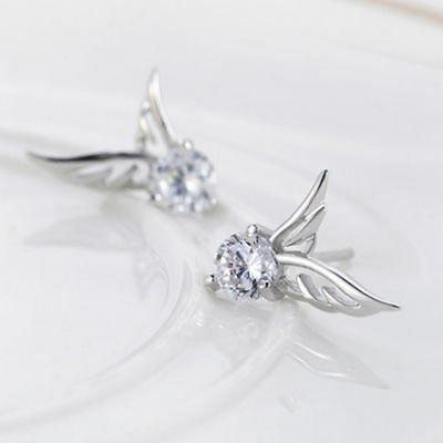 Angel Wing Earrings 925 Sterling Silver Crystal Butterfly Studs Ear Stud BN UK