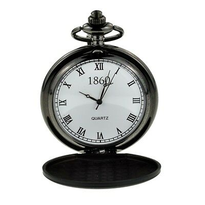 Matt Black Pocket Watch and Clip Chain Featuring Roman Numerals Boxed - XCPW18