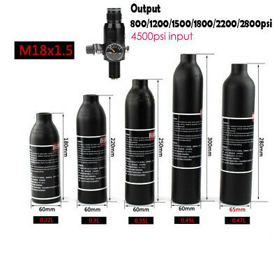4500psi Air Tank M18*1.5 Threaded Valve Output 800/2200psi For PCP Paintball