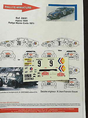 Decals 1/24 Alpine Renault A110 Therier Rallye Monte Carlo 1971 Wrc Rally