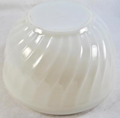 Fire King Mixing Bowl White Swirl Oven Ware Anchor Hocking USA Nesting Vintage O