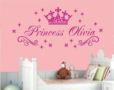 Name Wall Stickers Personalised Name Princess Crown Stikers Stars Sparkle