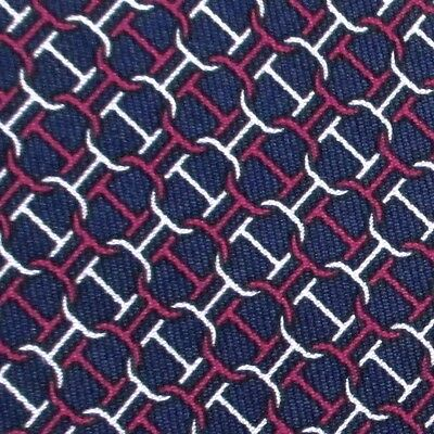 100% REAL HERMES TIE ~ NAVY BLUE w/ WHITE & PINK CHAIN D'ANCRE BRIDLE LINKS XL