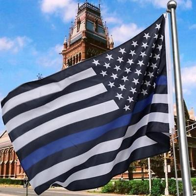 Thin Blue Line American Flag Police with Embroidered Stars Sewn Stripes New SL