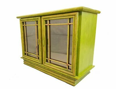 Vintage French Mid Century Green Exotic Tropicalia Pine and Bamboo Sideboard Cre