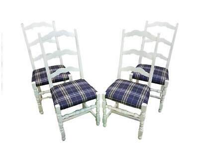 Vintage French Country White Oak Set of Four Ladder Back Dining Chairs