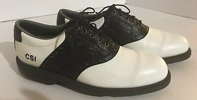 FootJoy Men s Youth MyJoys DryJoys Golf Shoes Black White Soft Spikes Size  ... ba127eaa48c