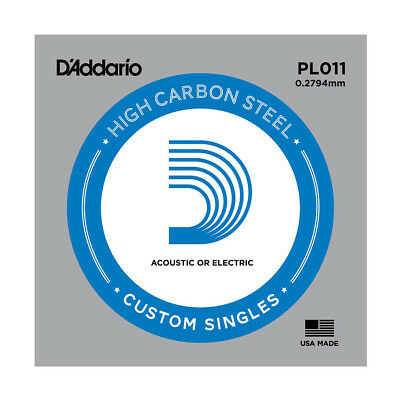 D'Addario PL011 SINGLE PLAIN STEEL 011 Acoustic Electric Guitar Strings
