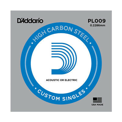 D'Addario PL009 SINGLE PLAIN STEEL 009 Acoustic Electric Guitar Strings