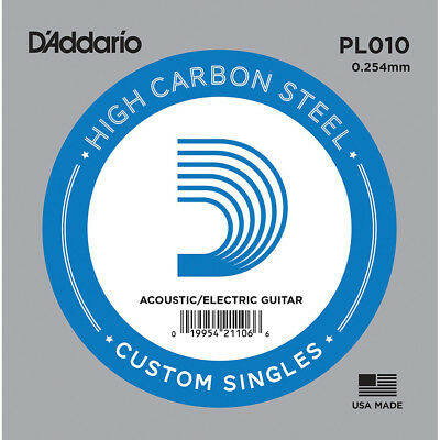 D'Addario PL010 SINGLE PLAIN STEEL 010 Acoustic Electric Guitar Strings