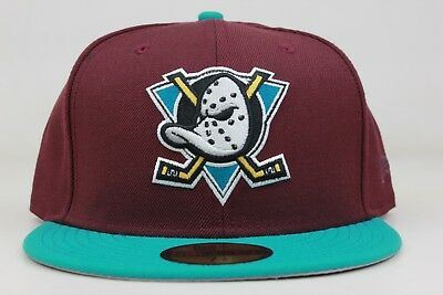 b098c34a326b ANAHEIM MIGHTY DUCKS Maroon Teal White Black NHL New Era 59Fifty ...