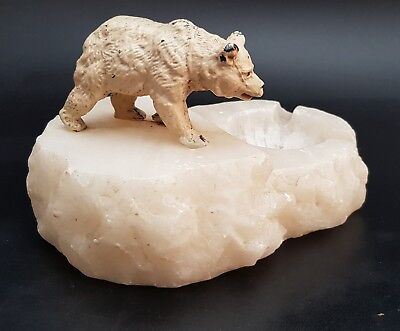 Cold Painted Spelter Polar Bear On Marble Base 1930s