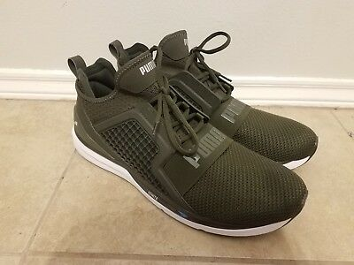 579fdc724 Puma Ignite Limitless Knit Mens Textile Lace Up Trainers Olive 189987 03  size 14
