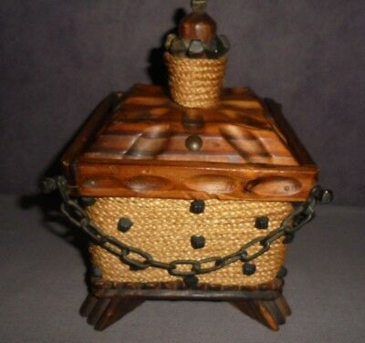 Rare Vintage Wooden Box With Lid Hand Carved