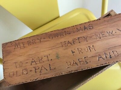 Vintage Handmade FOLK ART Merry Christmas To Art From Old Pal Wooden Box 1944