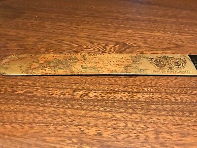 Rare,1895, antique, Mauchline, Eastern Telegraph Co, World Map Page Turner Treen