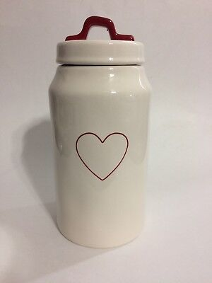 Rae Dunn Valentines Day Red Heart Canister With Red Handle Medium Ivory Artisan