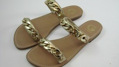 a5bba15fdfdf3 G by GUESS Gold Women s Shoes Double Strap Tunez Flat Sandals 9.5 M