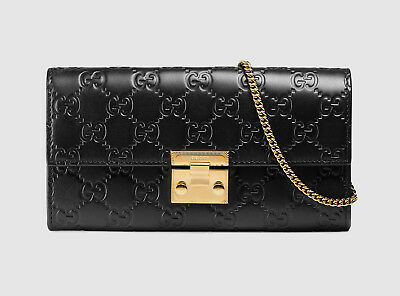 cac1ac32849077 GUCCI PADLOCK CONTINENTAL Wallet With Chain Black NEW - $925.00 ...