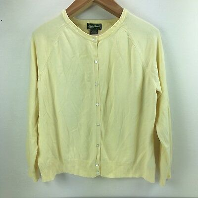 b55f115222 Eddie Bauer Womens Cardigan Sweater Button Up Long Sleeve Yellow Size XXL  2XL