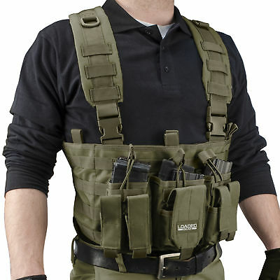Barska Loaded Gear Tactical Chest Rig, Mag & Accessory Pouches,OD Green, BI12794