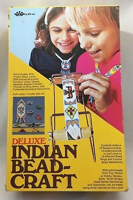 Vintage 1974 Walco Deluxe Indian Bead Craft Loom Set Jewelry Making Crafts 2782B