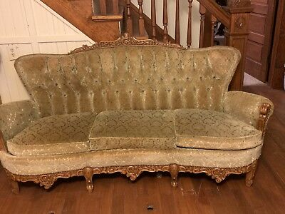 antique sofa set, olive green, hand carved wood, 3 piece. Located in Kansas
