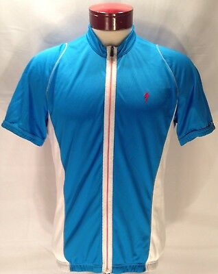 b544ba898 F579 Specialized Bicycles Blue White Full Zipper Cycling Jersey Size XL
