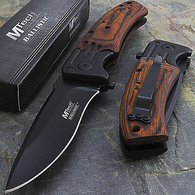 "MTECH USA 8"" Spring Assisted Wood Folding Pocket Knife Blade Open Assist EDC"