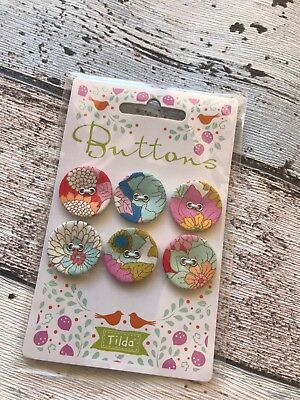 Tilda lemon tree Range Buttons 23 mm x 6 fabric covered