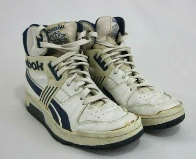 52a25ccab43 Vintage Reebok High Tops Mens Shoes Sneakers Vtg 80 s Classic White Blue  WOW!